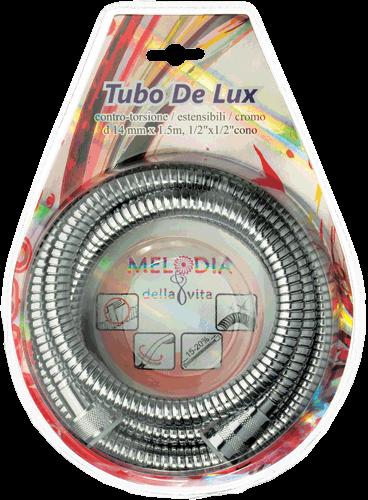 "шланг для душа MELODIA 1/2"" *1/2"" конус НЕРЖ д14мм*150см двойной зажим Tubo De Lux блистер арт.MS-03"